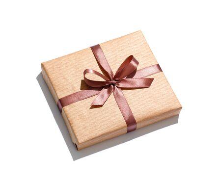Craft gift box isolated on white background.