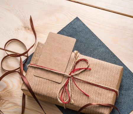 Gift box with craft blank tag.