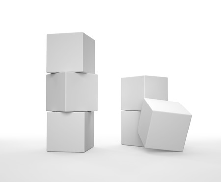 Stack of white cubes on white background. 3D render. Фото со стока