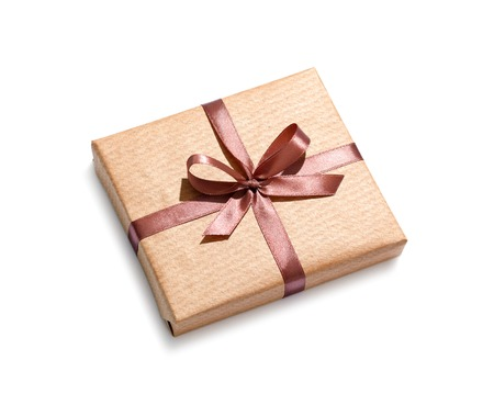 white bow: Craft gift box isolated on white background.