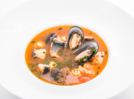 sopa: Fish soup with oysters Stock Photo