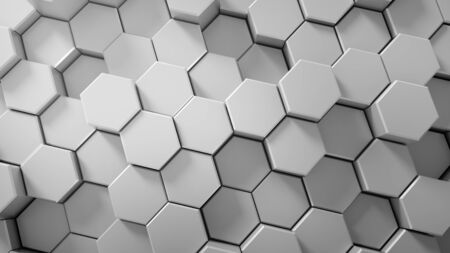 Abstract tech honeycomb background. 3D render Stock Photo