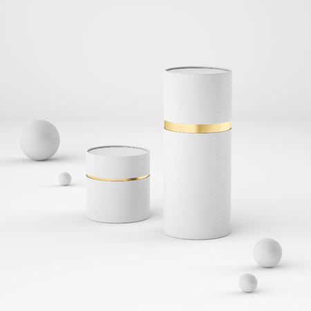 Mockup of closed paper can tubes Stock Photo
