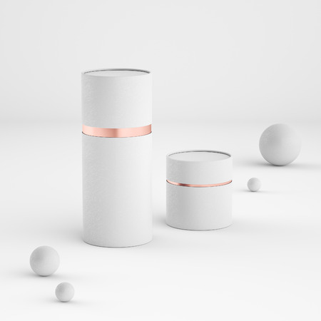 Mockup of closed paper can tubes Banque d'images