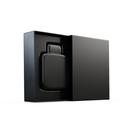 Black fragrance perfume bottle mockup