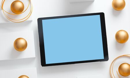 Premium digital tablet mockup over cool white background. Clipping path included. 3D render Stok Fotoğraf