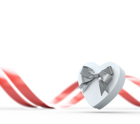 White heart shaped gift box with bow and red curved ribbon on white. 3D render Stock Photo