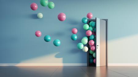 Los globos vuelan por la puerta abierta en el interior de la oficina. Render 3D