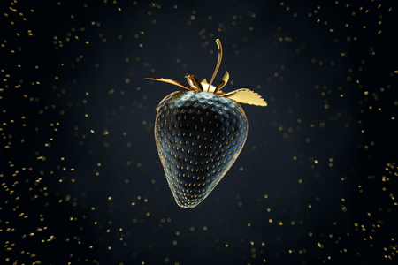 Black Strawberry With Gold Leaves Floating In the Air Among Gold Seed. 3D Render