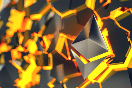 Ethereum coin  over hot collapsing surface. 3D render.