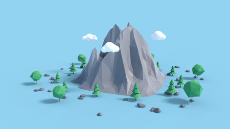 Low poly land scene with popup trees and rocks.