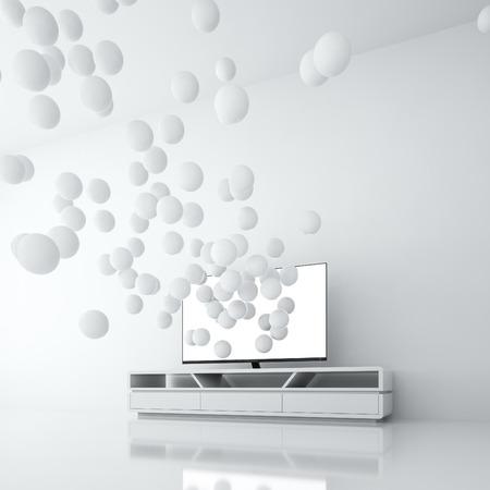 Smart TV with blank screen generates spheres from itself Banco de Imagens
