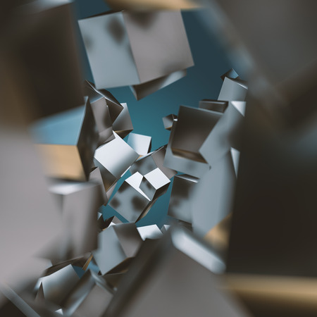 Abstract geometric background with floating stack of metal cubes. Closeup with shallow DOF. 3D render.