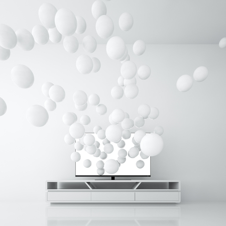 Smart TV with blank screen generates spheres from itself, in minimalist white room. 3D rendering