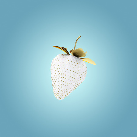 White Strawberry Floating In the Air. 3D Render