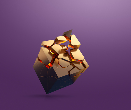 Gold cube fragmenting