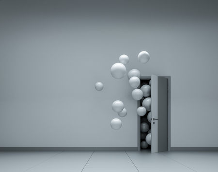 White balloons fly away through open door Stockfoto