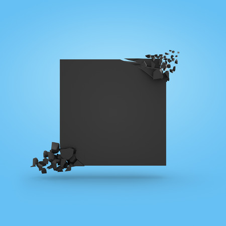 Black banner in a form of a square with explosed corners, over blue background. 3D render.