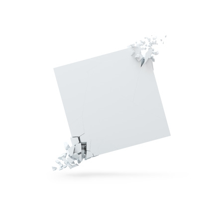 White banner in a form of a square with explosed corners, isolated over white background. 3D render.
