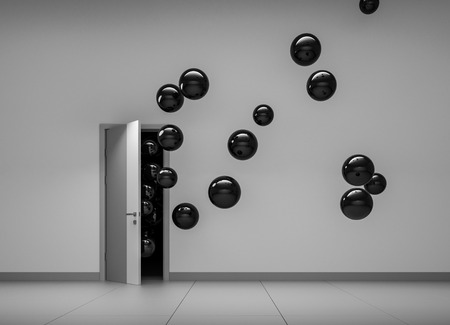 Black high glossy balloons fly away through open door in office interior. 3D render