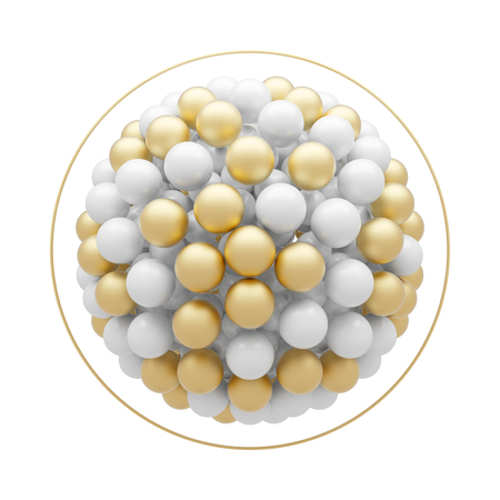 Abstract white and gold particles molecular structure