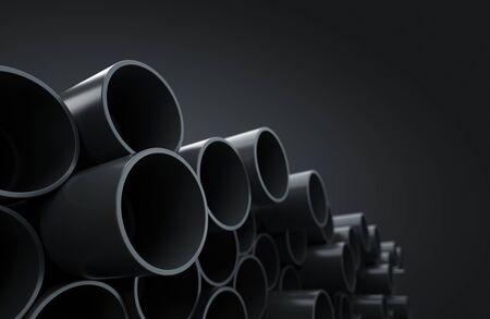 Plastic socket pipes on warehouse Stockfoto