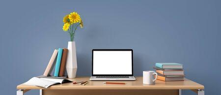 Home-Office-Arbeitsplatzkonzept mit Laptop-Modell