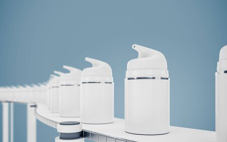 White cosmetic tubes in a row.