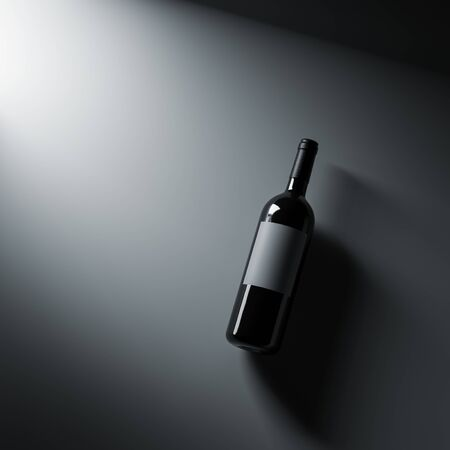 Top view wine bottle mockup.