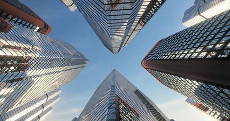 Prise de vue en contre-plongée du sol au ciel des gratte-ciel de la ville. rendu 3D