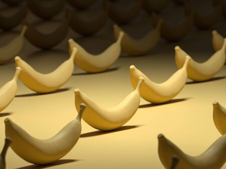 Closeup shot of many bananas in a row. 3D Render