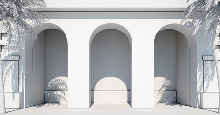 Building entrance with palm trees