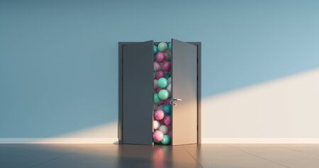 Colored balls pour out of the open doors into a large interior space