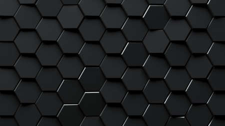 Abstract black hexagons background.