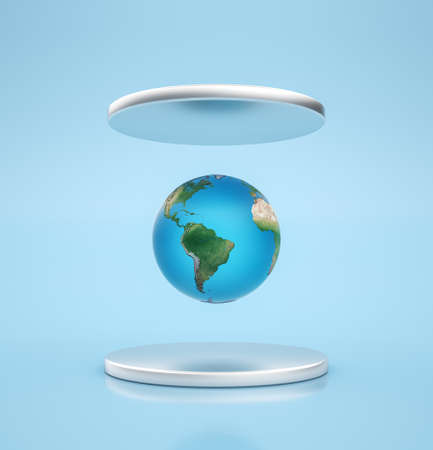 Earth globe planet is floating between silver pedestals