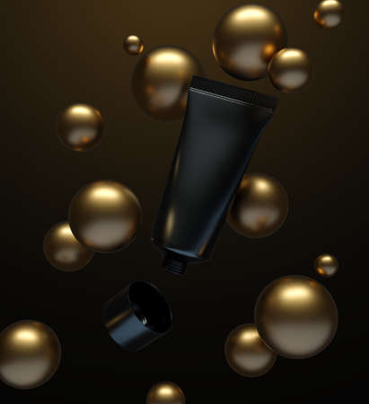 Open black cosmetic tube that is floating in the air surrounded by gold spheres