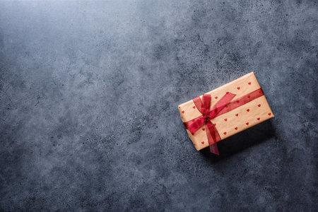 Valentines Day gift box, flat lay