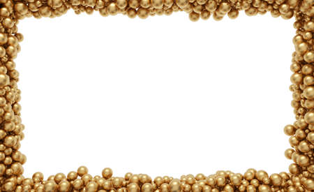 Many gold balloons along the frame line, isolated on white Banque d'images