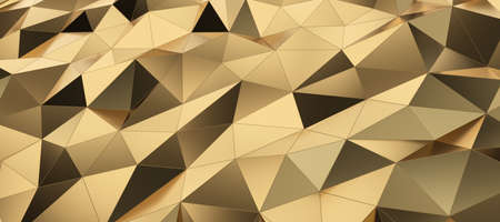 Abstract gold low poly surface background Banque d'images