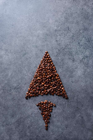 Coffee beans in a form of an arrow Banque d'images