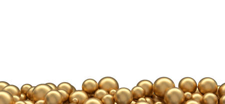 A lot of gold balloons at the bottom of the frame, isolated on white Banque d'images