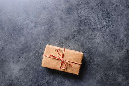 Gift box, flat lay on a desktop