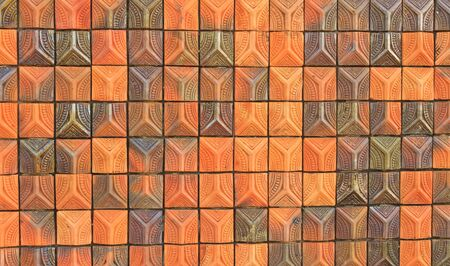 Red brick with patterns and color combinations of black and brown as a wall photo