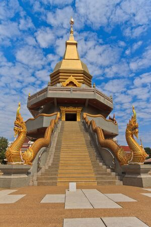 Thai art, Naka statue in front of Thai Buddhist pagoda, Udonthani province, Northeast, Thailand  photo