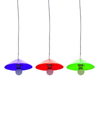 ceiling lamps: colorful ceiling lamps on white background Stock Photo