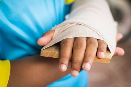 Elastic bandage injuries arm from accident first aid