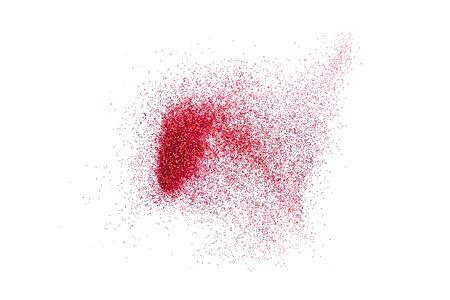 Red glitter powder splash or burst copy space isolated on white background