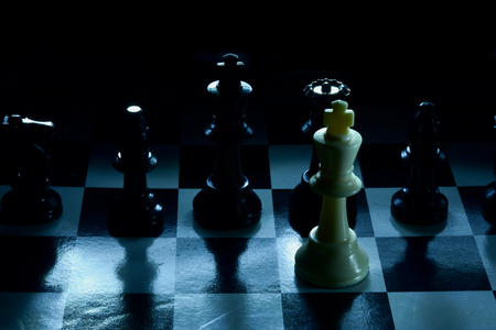 Universal Chess promises the look of battle. Use of ideas to overcome. Concepts of overcoming and fighting Stock Photo