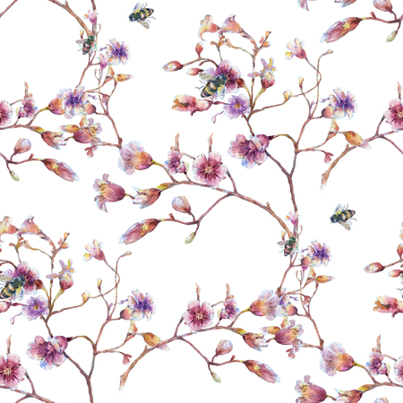 xwhite: Watercolor painting of bee  and flowers, seamless pattern on white background