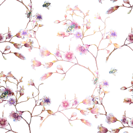 xwhite: Watercolor painting of bee  and flowers, seamless pattern on white backgro